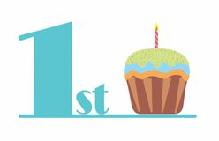 1stcupcakeblue. It`s a blue number one and a cup cake birthday for baby boy firs tbirthday Vector Illustration