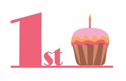 1stcupcakepink. It`s a pink number one and a cup cake birthday for baby girl firs tbirthday Stock Images