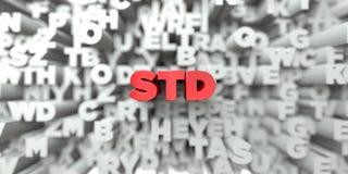STD - Czerwony tekst na typografii tle - 3D odpłacający się królewskość bezpłatny akcyjny wizerunek royalty ilustracja