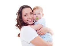 Stdio portrait of smiley mother with baby Royalty Free Stock Photo