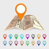 Städtische Karte mit einem Satz Zeigerikonen Stockbild