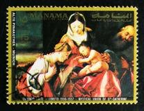 Ste凯瑟琳`绘画`神秘的婚姻由乐透纸牌,从老Pinakothek,慕尼黑serie的绘画的,大约1972年 库存照片