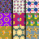 Ste of abstract seamless pattern background Stock Images