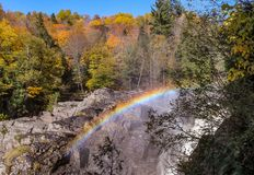 Ste-Anne Canyon colours at Fall. Near Quebec City, Ste-Anne Canyon is a beautiful place for randoms or promenade all over the year. Accessible to families Royalty Free Stock Image