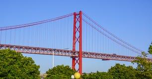 25ste April Bridge over Rivier Tagus in de Brug van akasalazar van Lissabon Royalty-vrije Stock Afbeelding