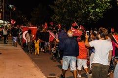 30ste August Turkish Victory Day Parade bij Nacht Stock Foto