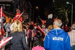 30ste August Turkish Victory Day Parade bij Nacht Royalty-vrije Stock Foto