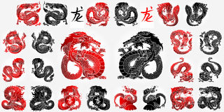 Ste 12 Aziatisch draakzwarte en rood Stock Fotografie