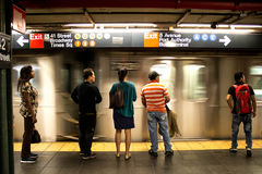 34ste de metropost New York van straathudson yards Stock Foto's