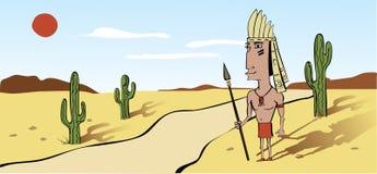 Éste es guerrero indio del nativo americano en un cartoo Imagenes de archivo