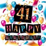 41ste Gelukkige Verjaardagskaart Stock Foto