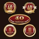 40ste geplaatste Verjaardagsemblemen stock illustratie