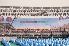 29ste Internationaal Vliegerfestival 2018 - India Stock Foto