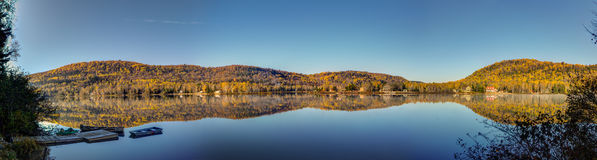 Ste Rose lake. Mandeville, Quebec, Canada, automn colors Royalty Free Stock Photo
