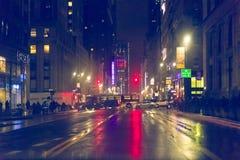 34ste 's nachts straat New York Stock Foto