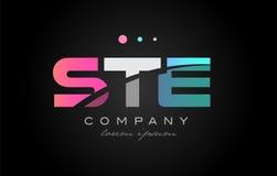STE s t e three letter logo icon design. STE s t e three 3 letter logo combination alphabet vector creative company icon design template modern  pink blue white Stock Images