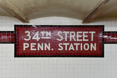 34ste Straat Penn Station Subway Stop - NYC Royalty-vrije Stock Foto's