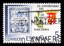 50ste Verjaardag, Tentoonstelling van Barcelona, Filatelie serie, circ Stock Afbeelding