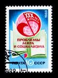 30ste Verjaardag van Tijdschrift` Problemen van Vrede en Collectivisme `, serie, circa 1988 Royalty-vrije Stock Foto's