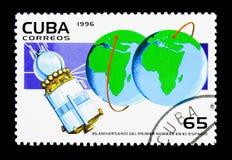 35ste Verjaardags eerste Mens in ruimte, serie, circa 1996 Royalty-vrije Stock Afbeeldingen