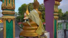 Steadicam сняло небольших статуй Будды в виске Wat Srisoonthorn на острове Пхукета, Таиланде r сток-видео
