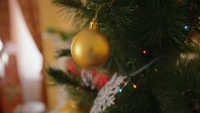 Steadicam сняло вокруг золотой смертной казни через повешение безделушки на рождественской елке на живущей комнате акции видеоматериалы