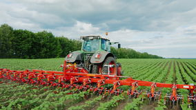 Steadicam fly around shot: Tractor pulls on the field, agricultural mechanism for weeding plants stock video