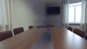 steadicam inre modernt kontor Släta rörelse tema för illustration för arkitekturaffärsmitt Kamera omkring lager videofilmer