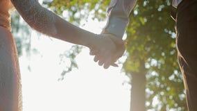Steadicam schoot close-up van de palmen van een houdende van paar, een man en een vrouw Kerel en meisjesliefkozingshanden op de a stock footage
