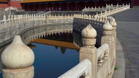 Steadicam shot of a inner part of the Forbidden city - ancient palace of China`s emperor. Inner water channel - river.