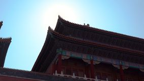 Steadicam sköt av en inre del av Forbiddenet City - forntida slott av Kina kejsare lager videofilmer