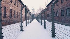 Steadicamgang tussen prikkeldraadomheiningen Auschwitz Birkenau, Duits Naziconcentratie en uitroeiingskamp stock video