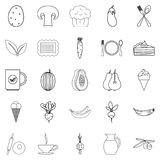 Steading icons set, outline style. Steading icons set. Outline set of 25 steading vector icons for web isolated on white background Stock Photos