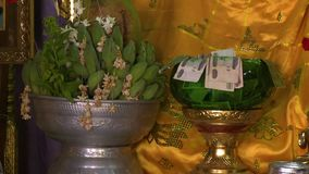 Metal goblets with money and bananas. A steady, close up shot of silver and gold metal goblets full of money and green bananas with a very yellow background stock video footage