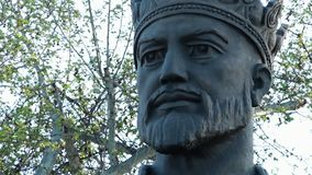 Statue of Man with Crown. Steady, close up shot of a statue of King Amur Timur`s face stock footage