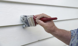 Steady Hand Painting Wall with Brush. Stock Images
