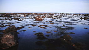 Steady Panning Video of a Low Tide stock footage