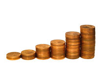 Steady Profit Increase. A row of coin stacks representing increase of profit, turnover, etc Stock Photos