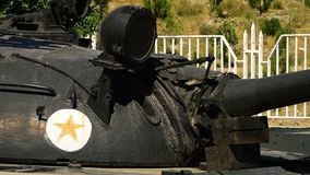 An old battle tank. A steady shot of an old battle tank displayed on a museum stock video