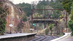 A train rail in Australia. A steady shot from a station of train rail stock footage