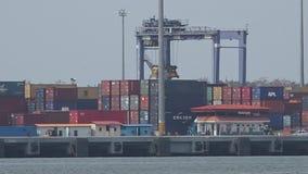 A working crane bridge in a shipyard stock footage