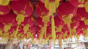 Steadycam shot of lots of Chinese red lanterns. Concept of celebrating a Chinese new year stock footage