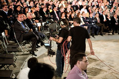 Steadycam team recording a political event of Extremadura Nation Royalty Free Stock Photos