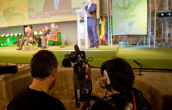Steadycam team recording a political event of Extremadura Nation Royalty Free Stock Photography