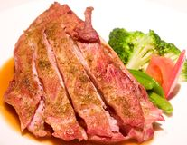 Steak. Close-up of delicious steak in dish Royalty Free Stock Photography