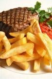 Steak. Shop potato fries grilled Stock Photos