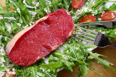 Steak. On salad with tomatoes Stock Image