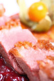 Steak. Macro stuffed steak and cranberries sauce Royalty Free Stock Photos