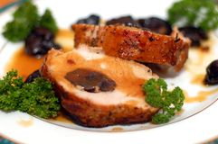 Steak. Of pork with plum Royalty Free Stock Photography