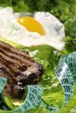 Steak. Over lettuce with egg for diet Stock Photos
